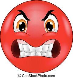 emoticon, zangado, smiley, caricatura