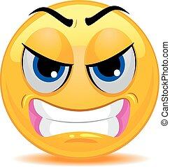 emoticon, zangado, smiley enfrentam