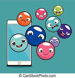 emoticon, zeichen, hintergrund, sammlung, emoji
