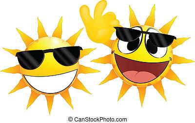 emoticon, zon, het glimlachen, vasthouden, glas