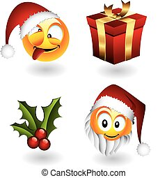 emoticons, éléments, noël