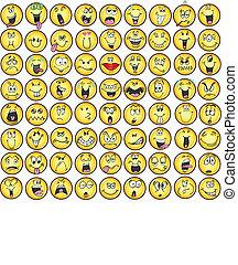 emoticons, érzelem, ikon, vectors