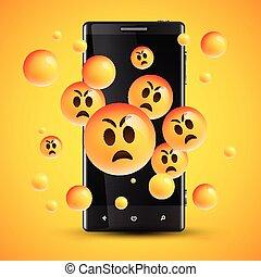 emoticons, εικόνα , ρεαλιστικός , μικροβιοφορέας , κίτρινο , αντιμετωπίζω , cellphone , ευτυχισμένος