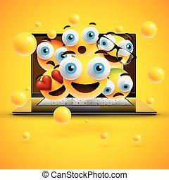 emoticons, εικόνα , ρεαλιστικός , μικροβιοφορέας , σημειωματάριο , κίτρινο , αντιμετωπίζω