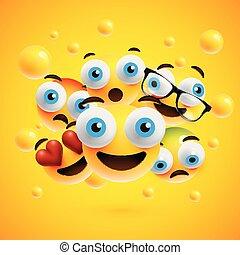 emoticons, μικροβιοφορέας , εικόνα , ρεαλιστικός , φόντο , κίτρινο , αντιμετωπίζω