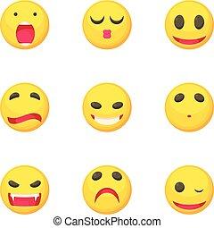 emoticons, アイコン, セット, 別, スタイル, 漫画