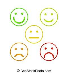 emoticons, アウトライン, カラフルである, 等級, レベル, 顔, 満足, レート, smileys, 5, 白