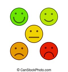 emoticons, カラフルである, 等級, レベル, 顔, 満足, レート, smileys, 5, 白