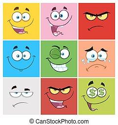 emoticons, カラーをまっすぐにしなさい, 別, コレクション, セット, 表現, 漫画, 1.