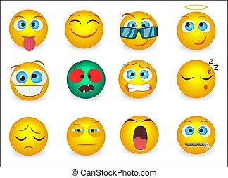 emoticons, セット, アイコン, isolated., イラスト, 顔, ベクトル, emoji