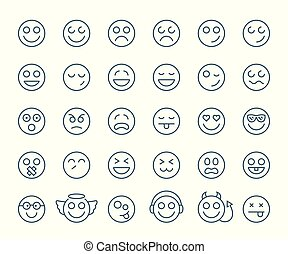 emoticons, セット, コレクション, ∥あるいは∥, バックグラウンド。, smileys, 薄くなりなさい,...