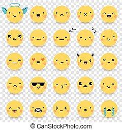 emoticons, セット, 透明