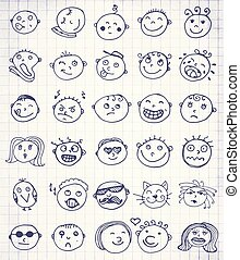 emoticons, セット, 30, 手, ベクトル, 引かれる, smileys, ∥あるいは∥