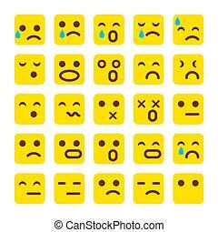 emoticons, セット, emoji., 顔, 黄色, 悲しい, イラスト, ベクトル, icons., 微笑