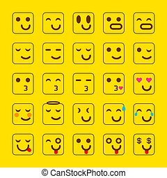 emoticons, セット, emoji., 顔, 黄色, 朗らかである, イラスト, ベクトル, icons., 微笑