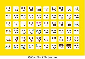 emoticons, セット, emoji., 顔, 黄色, icons., ベクトル, イラスト, 微笑