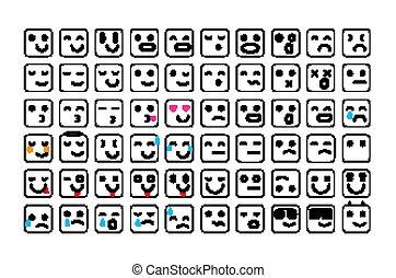 emoticons, セット, emoji., 顔, icons., ベクトル, 黒, イラスト, 微笑