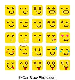 emoticons, セット, emoji., 黄色, ベクトル, icons., 微笑