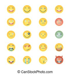 emoticons, セット, emoticons., emoji., collection., 別, icons., 顔, ベクトル, 微笑