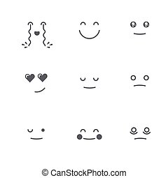 emoticons, セット, emoticons., emoji., collection., 別, icons., 顔, ベクトル, 薄くなりなさい, モノクローム, 微笑, 線, style.