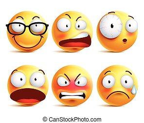 emoticons, セット, smiley, 黄色の額面, ベクトル, 顔の 表現, ∥あるいは∥
