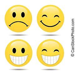 emoticons, ベクトル, セット, グロッシー
