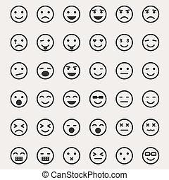 emoticons, ベクトル, セット