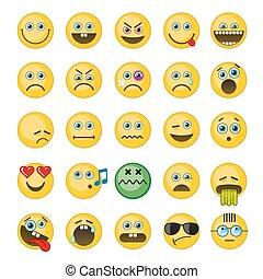 emoticons, ベクトル, emoji, セット, アイコン