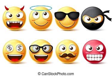 emoticons, 天使, のように, smileys, set., smiley, 特徴, 黄色の額面, 悪魔, ベクトル, emoji