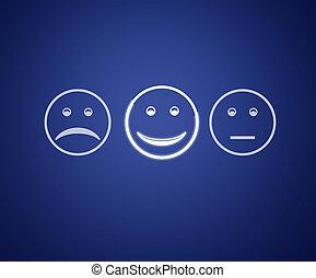 emoticons, 屏幕, 顧客服務, 評估, form.