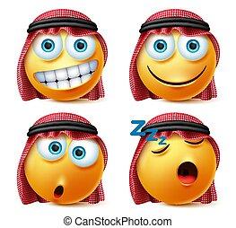 emoticons, 幸せ, set., サウジアラビア人, ベクトル, emojis, 睡眠, expressions., 顔, 驚き, アラビア人