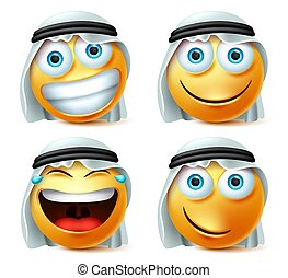 emoticons, 幸せ, set., emoji, サウジアラビア人, 笑い, ベクトル, いたずらである, 美顔術, 微笑の 表面, アラビア人, expression.