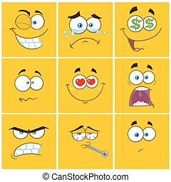 emoticons, 広場, コレクション, セット, 黄色, 表現, 漫画, 1.