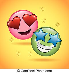 emoticons, 星, 愛, 2, 顔, 微笑, 幸せ