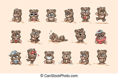 emoticons, 特徴, 隔離された, 感情, 別, 熊, ステッカー, 漫画, emoji