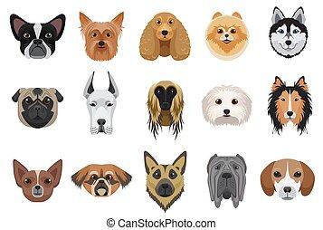 emoticons, 頭, 犬, set., 顔, ベクトル, 漫画