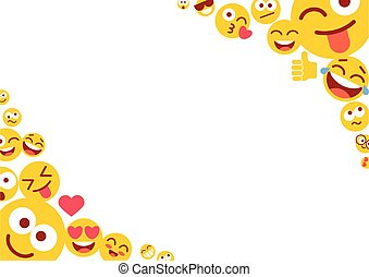 Emoticons and empty blank space for text. Photo frame with funny smileys