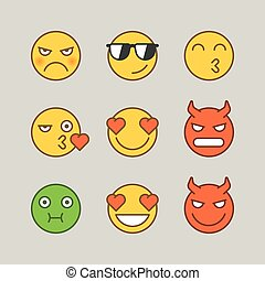 Emoticons angry demon kiss nauseous love smile. Funny stickers