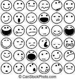 emoticons, caricatura, branca