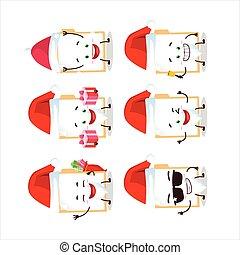 emoticons, caricatura, carpeta, marrón, claus, santa, carácter, manila