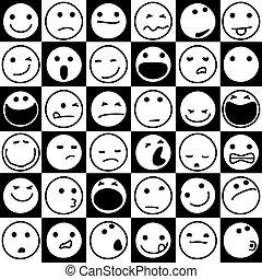 emoticons, caricatura, junta xadrez