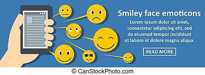 emoticons, concetto, smiley fronteggiano, orizzontale, bandiera