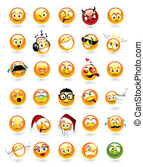 emoticons, conjunto, 30