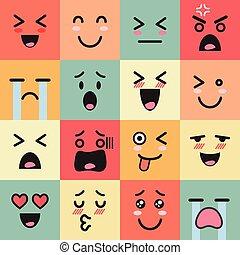 emoticons, conjunto, colorido