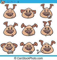 emoticons, conjunto, perro, ilustración, caricatura