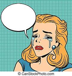emoticons, cri, larmes, retro, girl, emoji