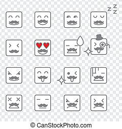 emoticons, cuadrado, cara
