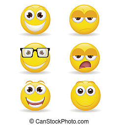 Emoticons - different yellow expression emoticon on white ...