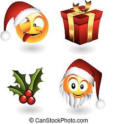 emoticons, elementos, natal