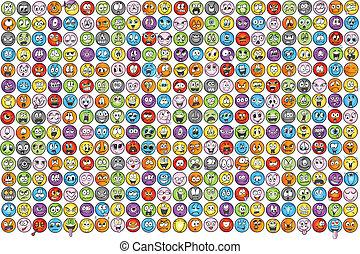 emoticons, emoce, ikona, vectors